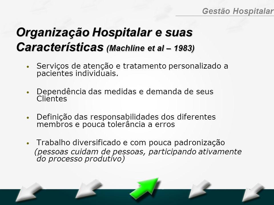 Hospital Geral Dr. Waldemar Alcântara Gestão Hospitalar Organização Hospitalar e suas Características (Machline et al – 1983) Serviços de atenção e tr