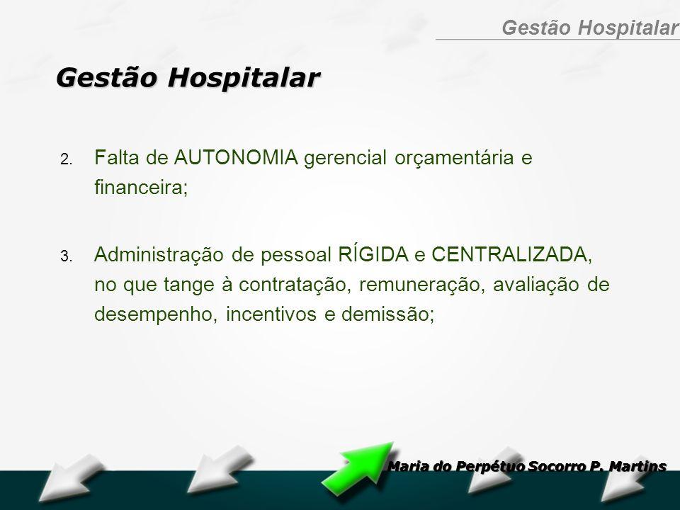Hospital Geral Dr. Waldemar Alcântara Gestão Hospitalar 2. Falta de AUTONOMIA gerencial orçamentária e financeira; 3. Administração de pessoal RÍGIDA