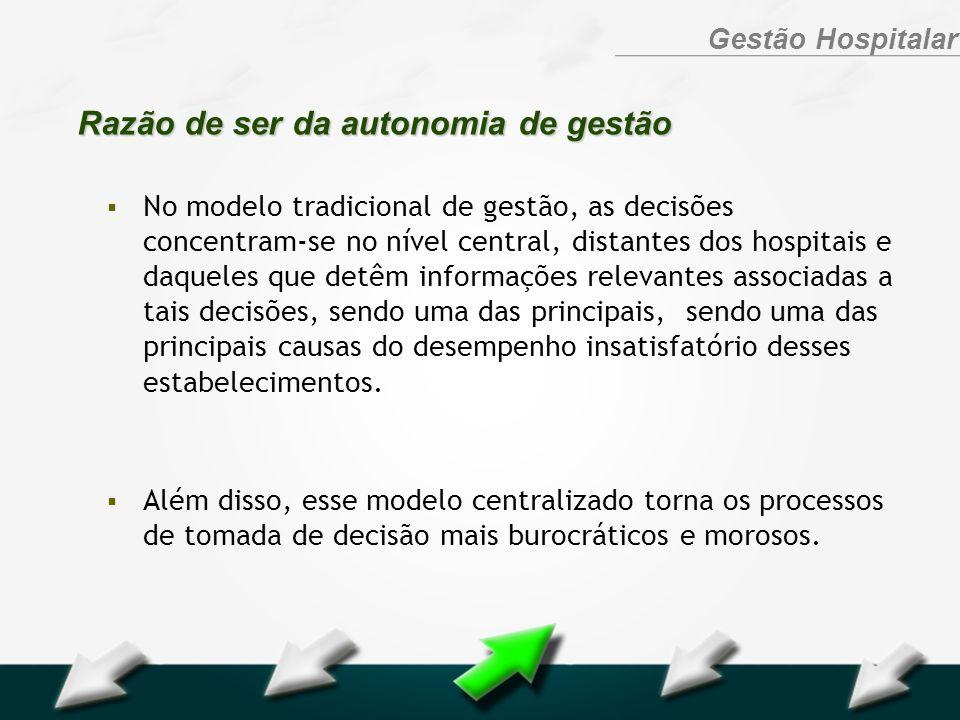 Hospital Geral Dr. Waldemar Alcântara Gestão Hospitalar Razão de ser da autonomia de gestão No modelo tradicional de gestão, as decisões concentram-se