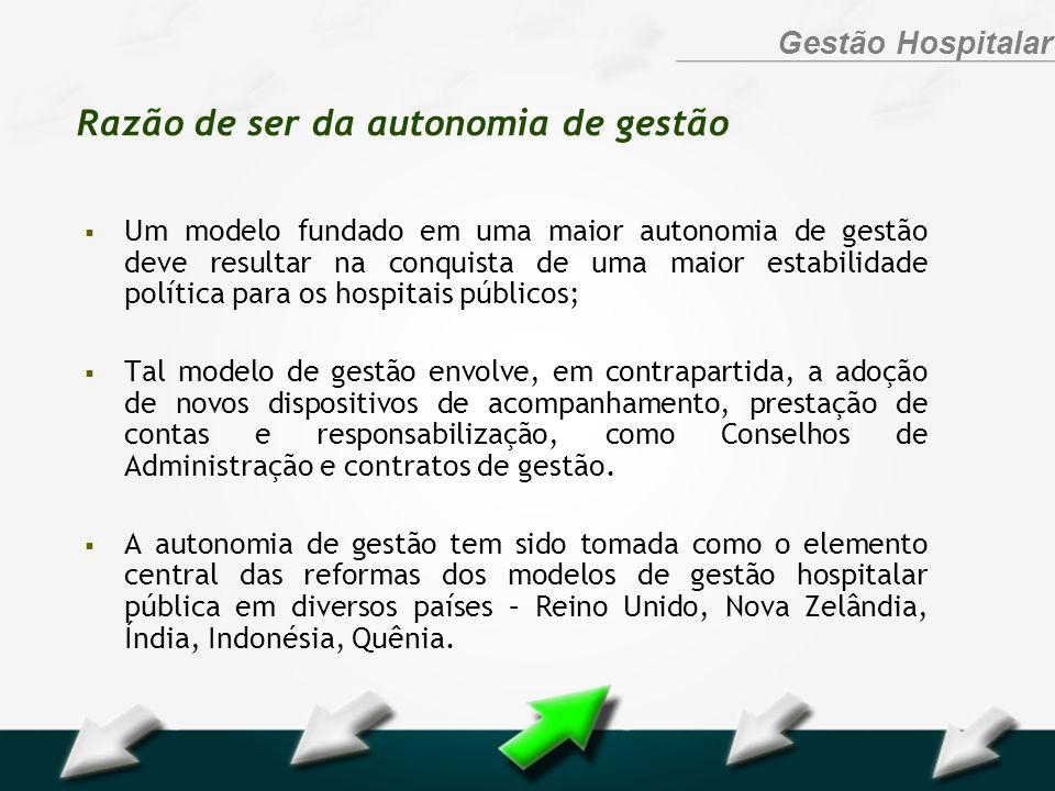 Hospital Geral Dr. Waldemar Alcântara Gestão Hospitalar Razão de ser da autonomia de gestão Um modelo fundado em uma maior autonomia de gestão deve re