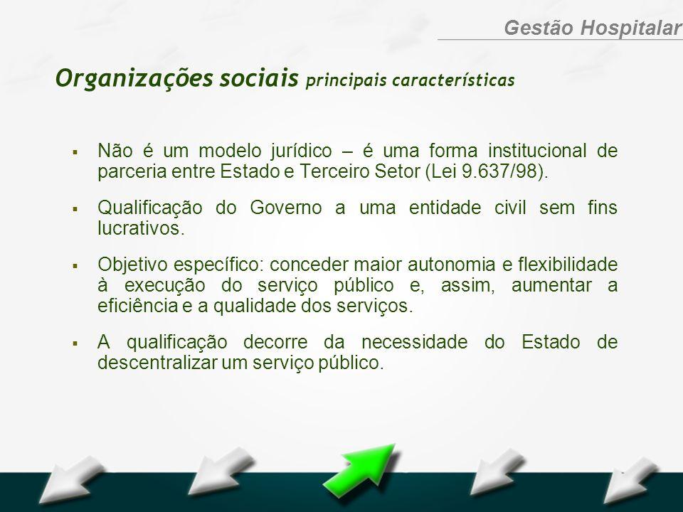 Hospital Geral Dr. Waldemar Alcântara Gestão Hospitalar Organizações sociais principais características Não é um modelo jurídico – é uma forma institu