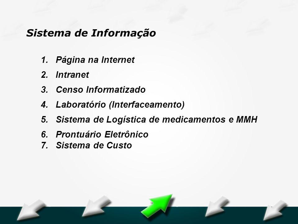 Hospital Geral Dr. Waldemar Alcântara 1.Página na Internet 2.Intranet 3.Censo Informatizado 4.Laboratório (Interfaceamento) 5.Sistema de Logística de