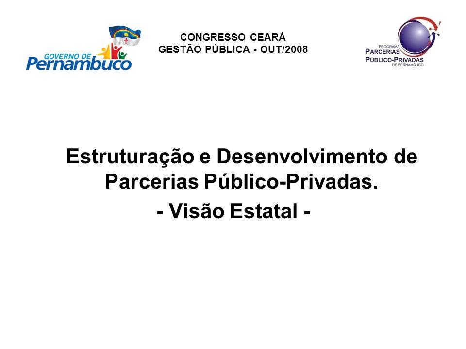 CONGRESSO CEARÁ GESTÃO PÚBLICA - OUT/2008 Estruturação e Desenvolvimento de Parcerias Público-Privadas. - Visão Estatal -