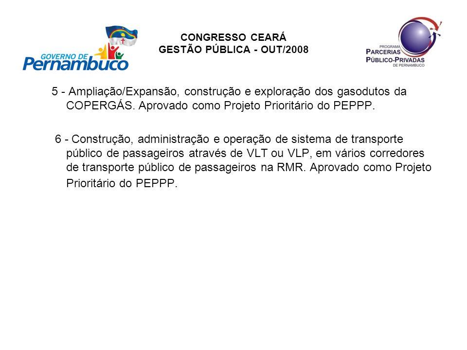 CONGRESSO CEARÁ GESTÃO PÚBLICA - OUT/2008 5 - Ampliação/Expansão, construção e exploração dos gasodutos da COPERGÁS. Aprovado como Projeto Prioritário