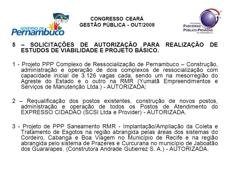 CONGRESSO CEARÁ GESTÃO PÚBLICA - OUT/2008 5 – SOLICITAÇÕES DE AUTORIZAÇÃO PARA REALIZAÇÃO DE ESTUDOS DE VIABILIDADE E PROJETO BÁSICO. 1 - Projeto PPP