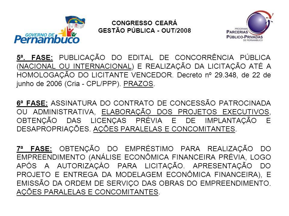CONGRESSO CEARÁ GESTÃO PÚBLICA - OUT/2008 5ª. FASE: PUBLICAÇÃO DO EDITAL DE CONCORRÊNCIA PÚBLICA (NACIONAL OU INTERNACIONAL) E REALIZAÇÃO DA LICITAÇÃO