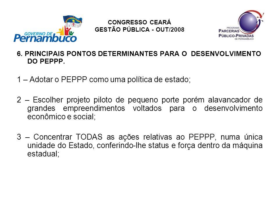 CONGRESSO CEARÁ GESTÃO PÚBLICA - OUT/2008 6. PRINCIPAIS PONTOS DETERMINANTES PARA O DESENVOLVIMENTO DO PEPPP. 1 – Adotar o PEPPP como uma política de