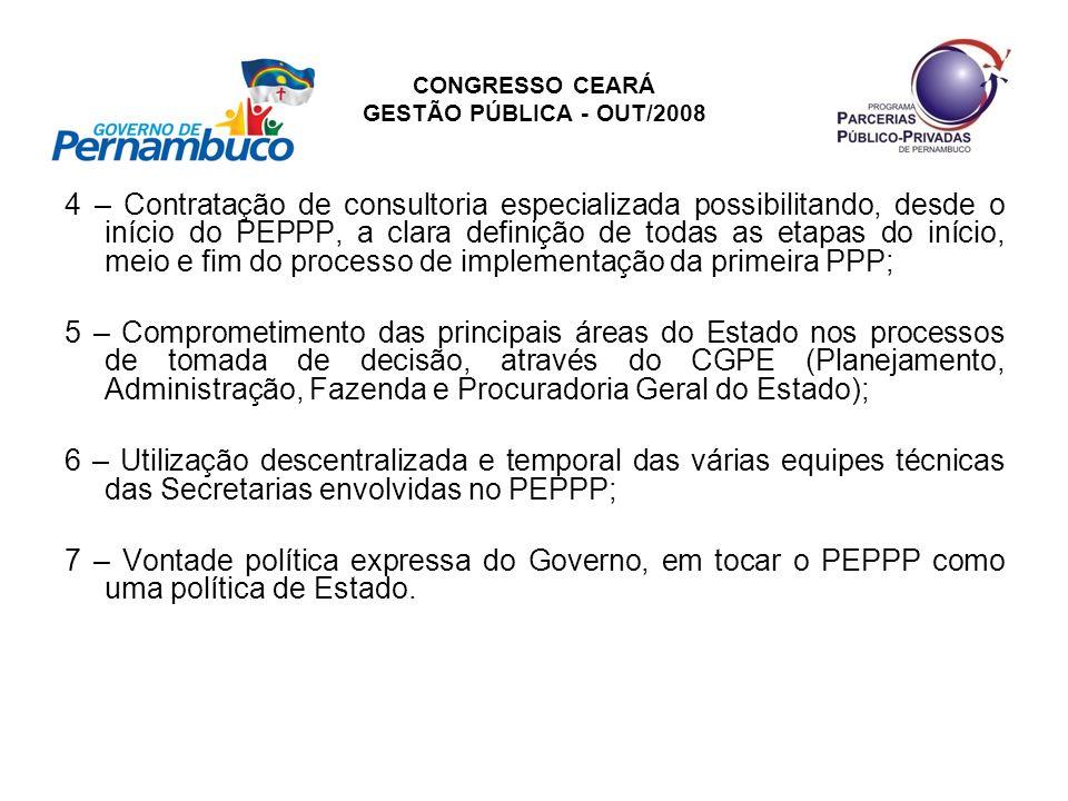 CONGRESSO CEARÁ GESTÃO PÚBLICA - OUT/2008 4 – Contratação de consultoria especializada possibilitando, desde o início do PEPPP, a clara definição de t