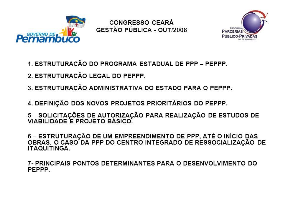 CONGRESSO CEARÁ GESTÃO PÚBLICA - OUT/2008 6 – ESTRUTURAÇÃO DE UM EMPREENDIMENTO DE PPP, ATÉ O INÍCIO DAS OBRAS.