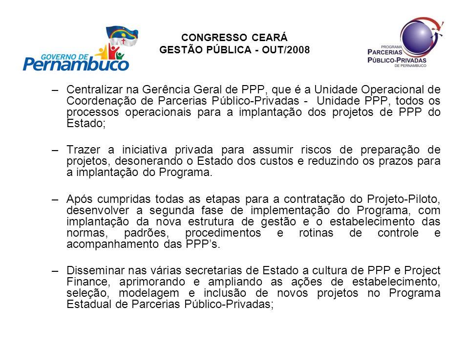 CONGRESSO CEARÁ GESTÃO PÚBLICA - OUT/2008 –Centralizar na Gerência Geral de PPP, que é a Unidade Operacional de Coordenação de Parcerias Público-Priva