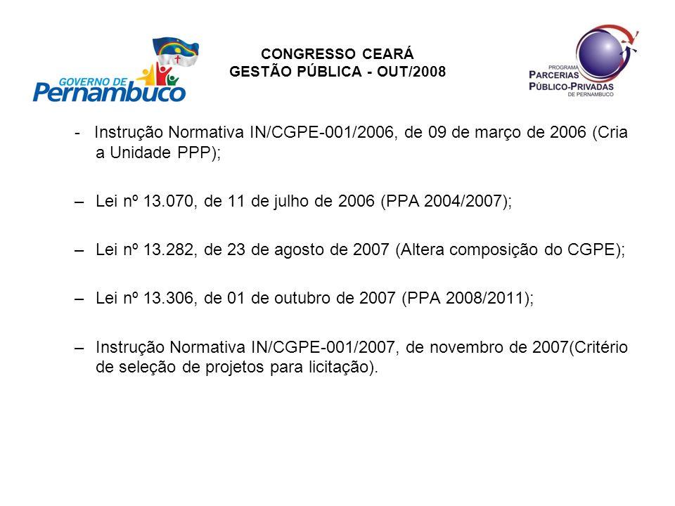 CONGRESSO CEARÁ GESTÃO PÚBLICA - OUT/2008 - Instrução Normativa IN/CGPE-001/2006, de 09 de março de 2006 (Cria a Unidade PPP); –Lei nº 13.070, de 11 d