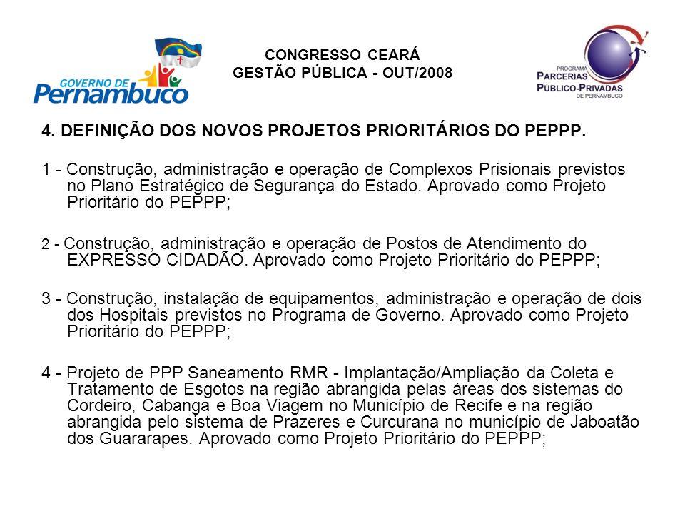 CONGRESSO CEARÁ GESTÃO PÚBLICA - OUT/2008 4. DEFINIÇÃO DOS NOVOS PROJETOS PRIORITÁRIOS DO PEPPP. 1 - Construção, administração e operação de Complexos