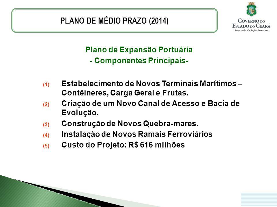 Plano de Expansão Portuária - Componentes Principais- (1) Estabelecimento de Novos Terminais Marítimos – Contêineres, Carga Geral e Frutas. (2) Criaçã