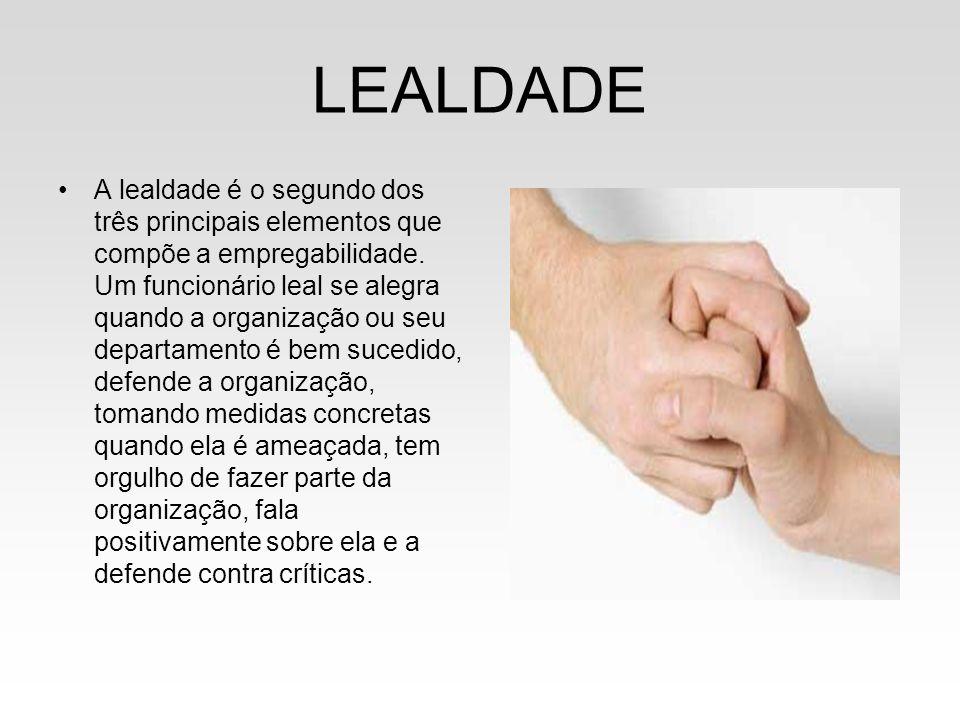 LEALDADE A lealdade é o segundo dos três principais elementos que compõe a empregabilidade. Um funcionário leal se alegra quando a organização ou seu