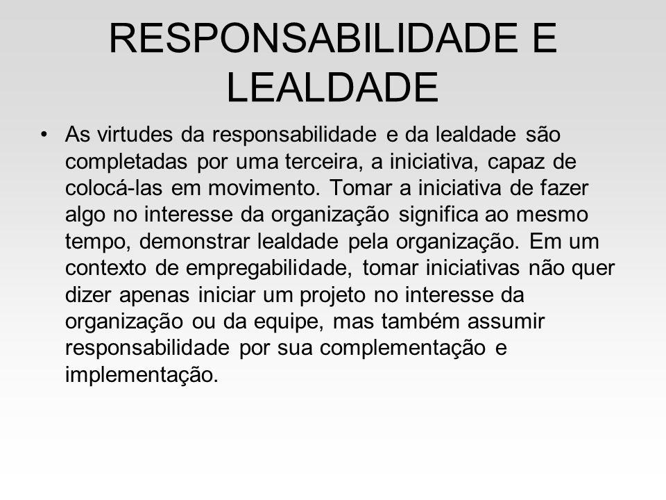RESPONSABILIDADE E LEALDADE As virtudes da responsabilidade e da lealdade são completadas por uma terceira, a iniciativa, capaz de colocá-las em movim