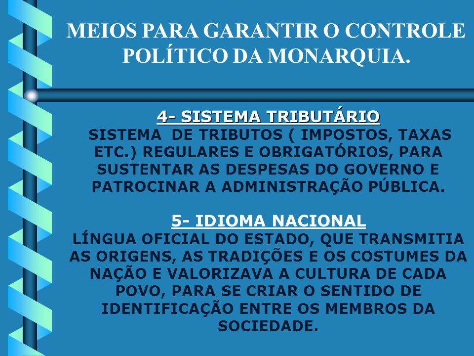 MEIOS PARA GARANTIR O CONTROLE POLÍTICO DA MONARQUIA. 1- BUROCRACIA ADMINISTRATIVA UM CORPO DE FUNCIONÁRIOS QUE, CUMPRINDO ORDENS DO REI, DESEMPENHAVA