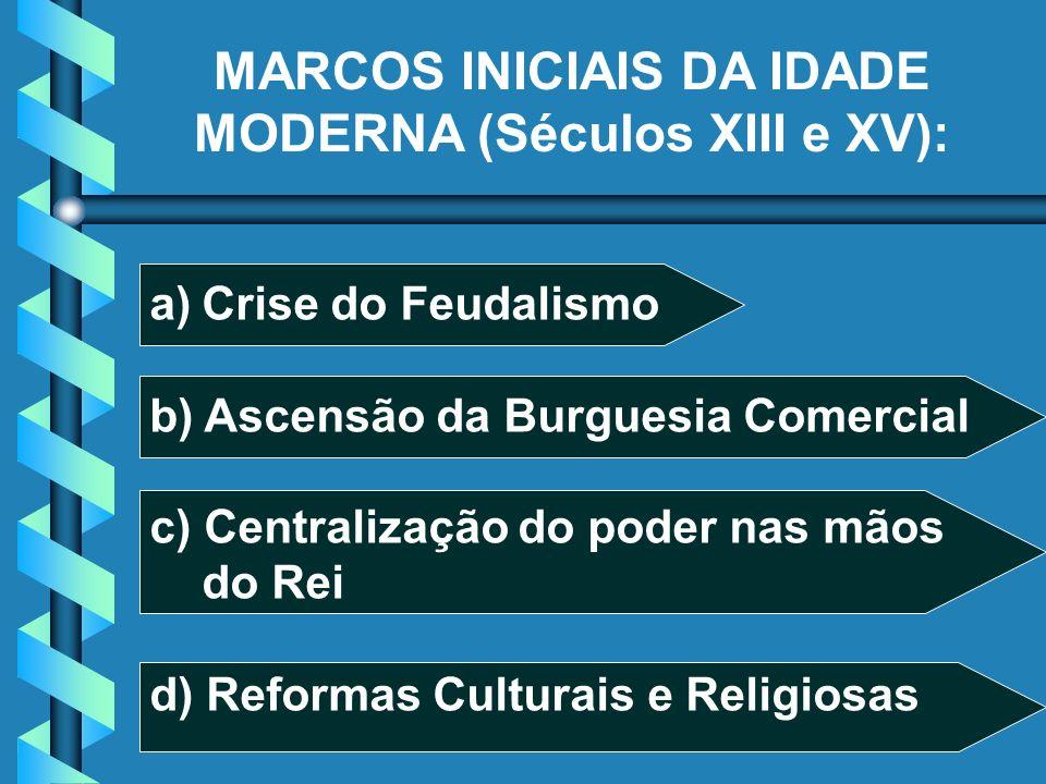a)Crise do Feudalismo b) Ascensão da Burguesia Comercial c) Centralização do poder nas mãos do Rei d) Reformas Culturais e Religiosas MARCOS INICIAIS DA IDADE MODERNA (Séculos XIII e XV):