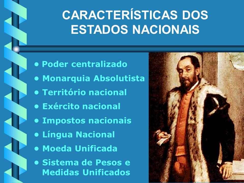 CARACTERÍSTICAS DOS ESTADOS NACIONAIS Poder centralizado Monarquia Absolutista Território nacional Exército nacional Impostos nacionais Língua Nacional Moeda Unificada Sistema de Pesos e Medidas Unificados