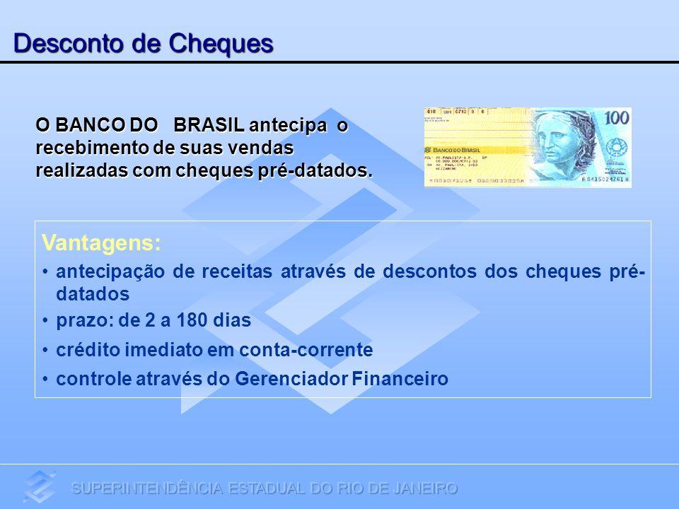Desconto de Cheques Vantagens: antecipação de receitas através de descontos dos cheques pré- datados prazo: de 2 a 180 dias crédito imediato em conta-