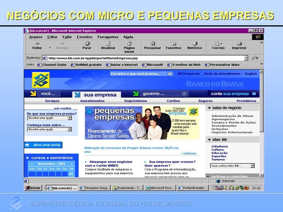 Portfólio de Negócios BB GIRO RÁPIDO - Cheque Especial - Capital de GiroRECEBÍVEIS - Desconto de Cheques - Desconto de Títulos - Antecipação de Crédito ao Lojista (ACL - Visa) FINANCIAMENTO DE 13º SALÁRIO PROGER Urbano CARTÃO BNDES BNDES/FINAMELEASING Capital de Giro Investimentos-BB Investe