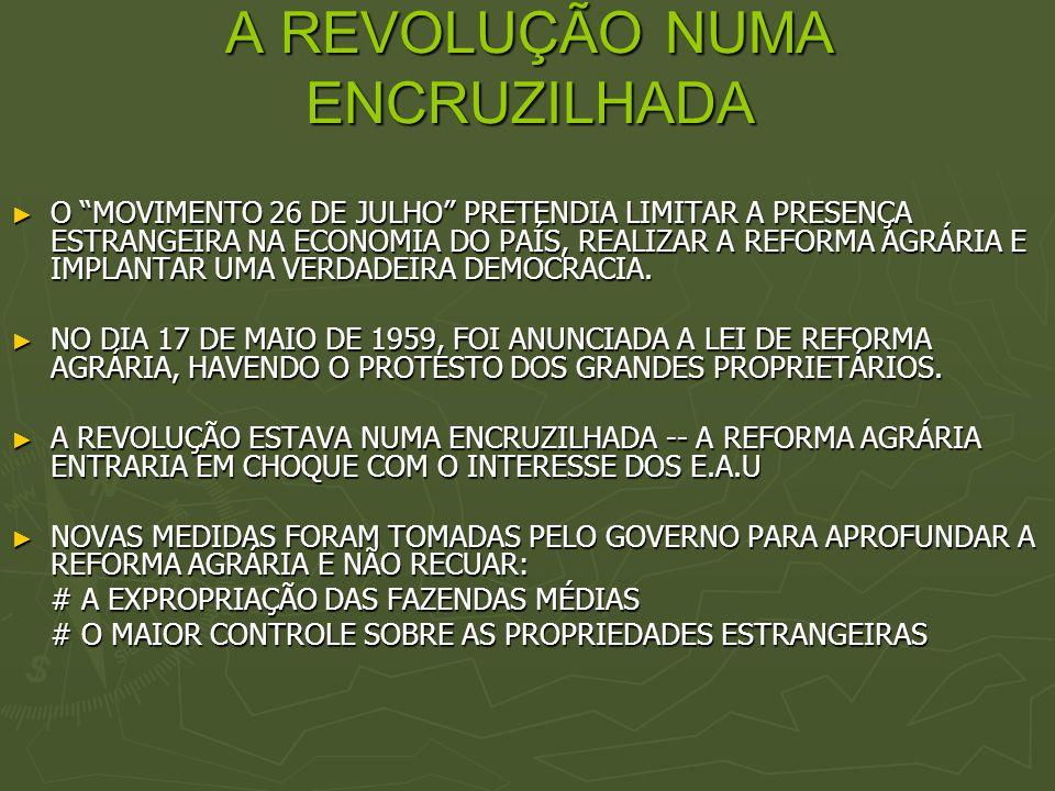 A REVOLUÇÃO NUMA ENCRUZILHADA O MOVIMENTO 26 DE JULHO PRETENDIA LIMITAR A PRESENÇA ESTRANGEIRA NA ECONOMIA DO PAÍS, REALIZAR A REFORMA AGRÁRIA E IMPLA