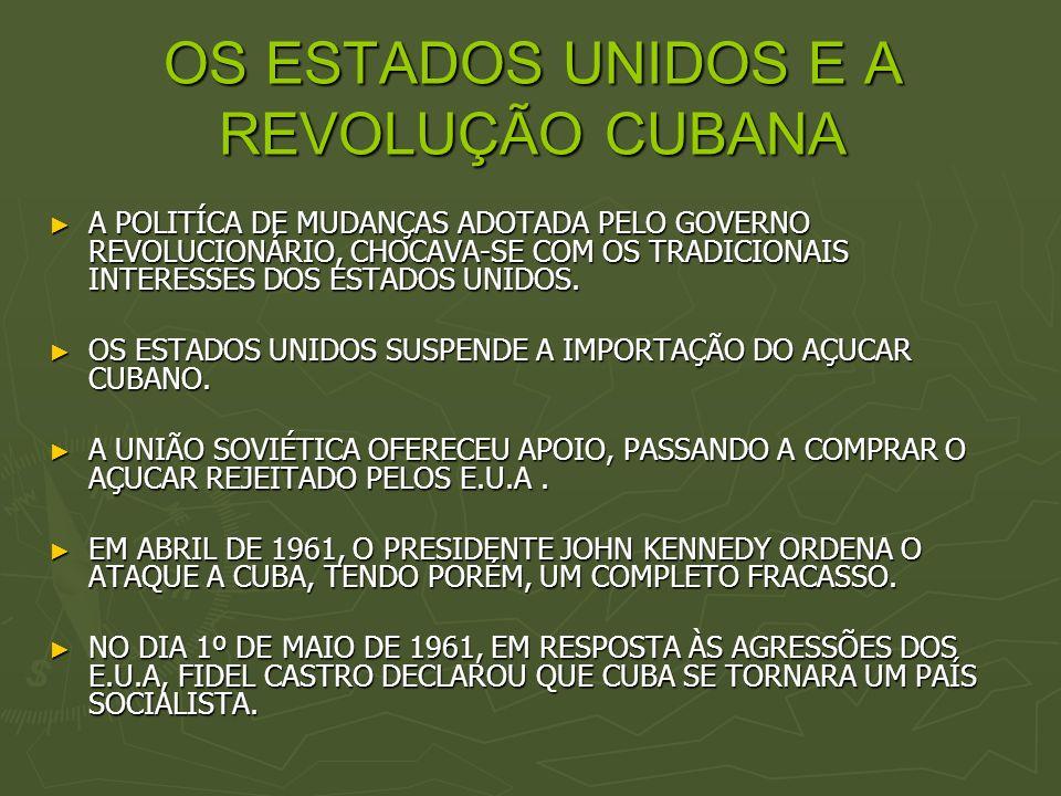 OS ESTADOS UNIDOS E A REVOLUÇÃO CUBANA A POLITÍCA DE MUDANÇAS ADOTADA PELO GOVERNO REVOLUCIONÁRIO, CHOCAVA-SE COM OS TRADICIONAIS INTERESSES DOS ESTAD