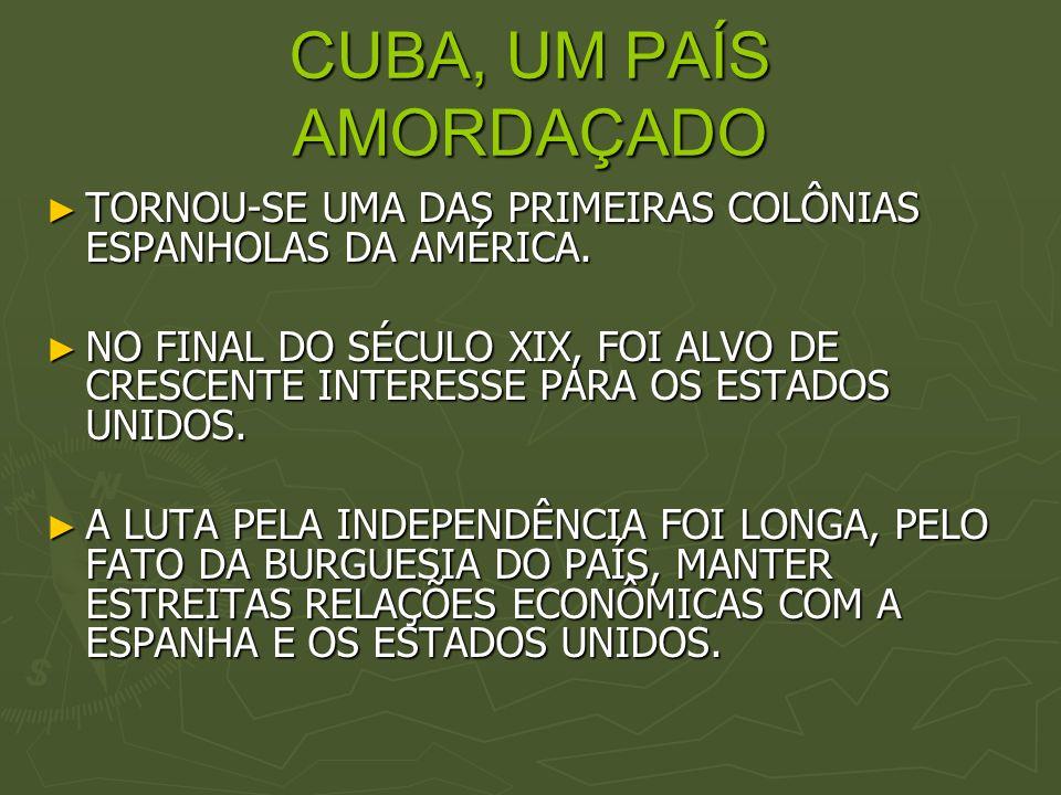 CUBA, UM PAÍS AMORDAÇADO TORNOU-SE UMA DAS PRIMEIRAS COLÔNIAS ESPANHOLAS DA AMÉRICA. TORNOU-SE UMA DAS PRIMEIRAS COLÔNIAS ESPANHOLAS DA AMÉRICA. NO FI