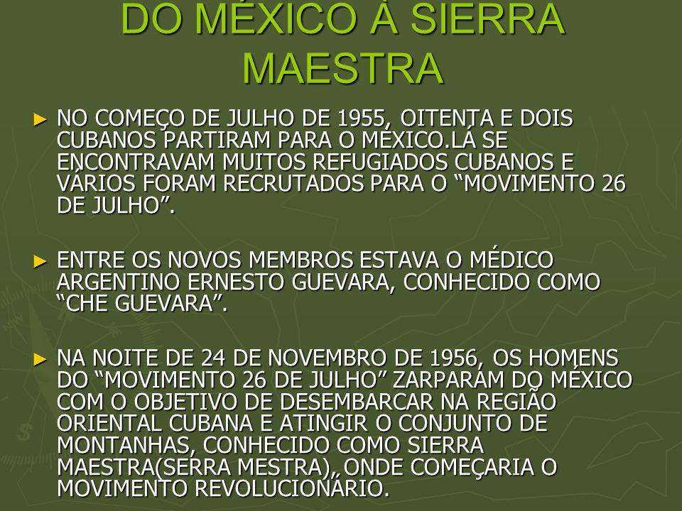 DO MÉXICO À SIERRA MAESTRA NO COMEÇO DE JULHO DE 1955, OITENTA E DOIS CUBANOS PARTIRAM PARA O MÉXICO.LÁ SE ENCONTRAVAM MUITOS REFUGIADOS CUBANOS E VÁR