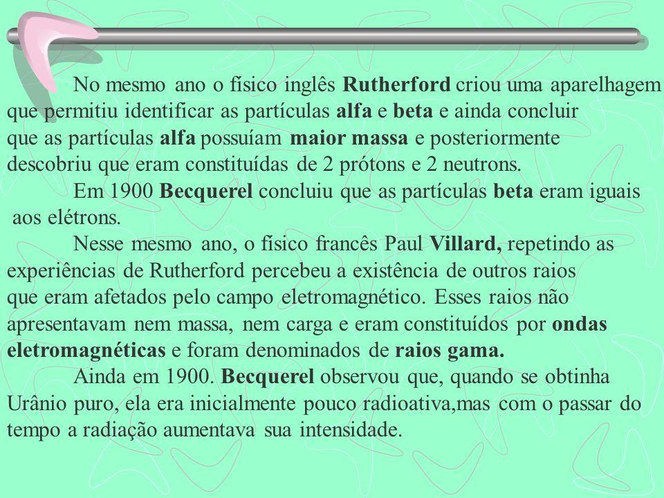 Histórico da Radioatividade Em 1896, o físico francês Antoine-Henri Becquerel, que se dedicava ao estudo de substâncias fluorescentes, percebeu que um