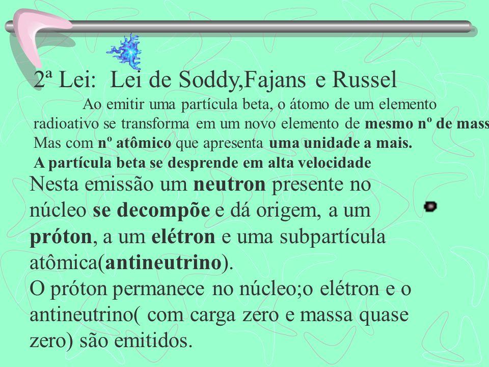 2ª Lei: Lei de Soddy,Fajans e Russel Ao emitir uma partícula beta, o átomo de um elemento radioativo se transforma em um novo elemento de mesmo nº de massa, Mas com nº atômico que apresenta uma unidade a mais.