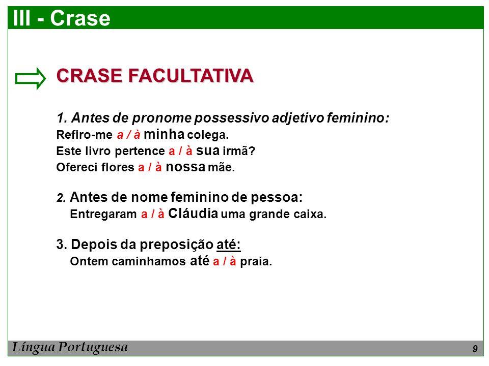 9 III - Crase CRASE FACULTATIVA 1. Antes de pronome possessivo adjetivo feminino: Refiro-me a / à minha colega. Este livro pertence a / à sua irmã? Of