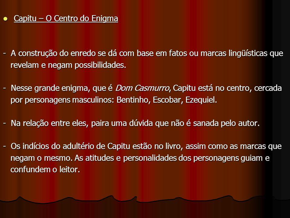 Capitu – O Centro do Enigma Capitu – O Centro do Enigma - A construção do enredo se dá com base em fatos ou marcas lingüísticas que revelam e negam possibilidades.