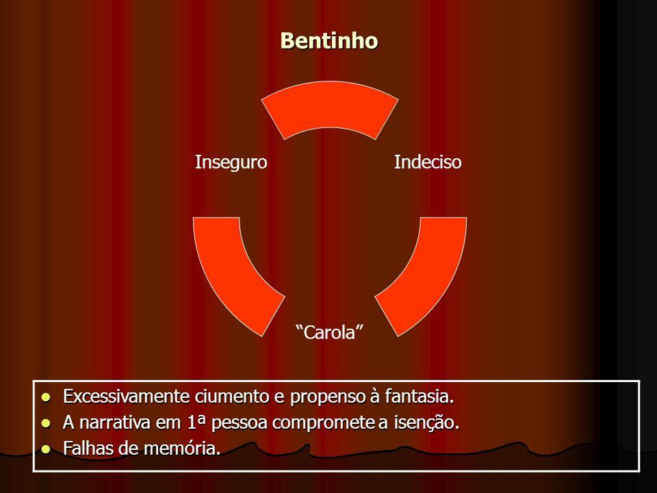 Bentinho Indeciso Carola Inseguro Excessivamente ciumento e propenso à fantasia.
