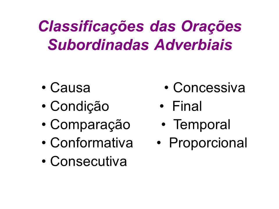 Classificações das Orações Subordinadas Adverbiais Causa Concessiva Condição Final Comparação Temporal Conformativa Proporcional Consecutiva