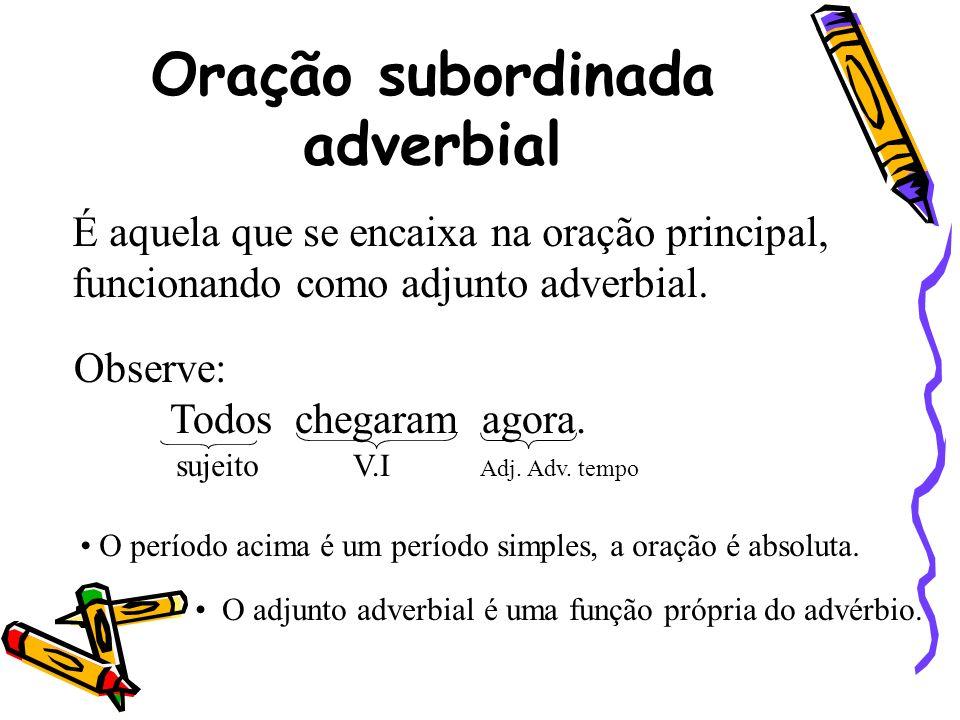 Oração subordinada adverbial É aquela que se encaixa na oração principal, funcionando como adjunto adverbial. Observe: Todos chegaram agora. sujeito V