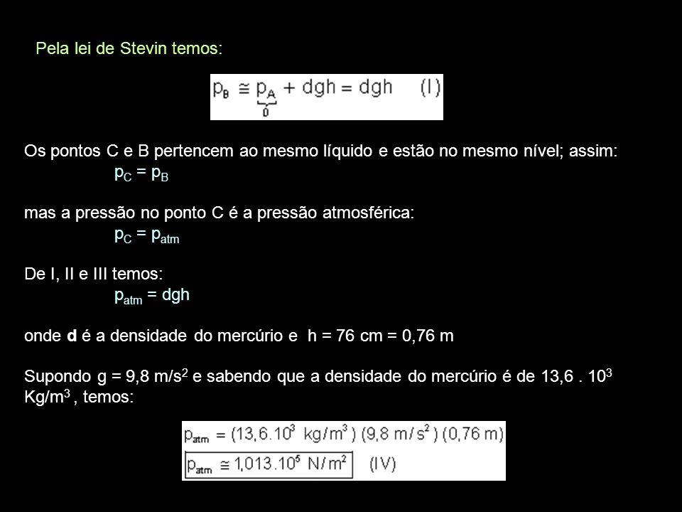 UNIDADES DE PRESSÃO: No Sistema Internacional de Unidades a unidade de pressão é o pascal (Pa): 1 Pa = 1 pascal = 1 N/m 2 No entanto na prática são usadas outras unidades, inspiradas no experimento de Torricelli.