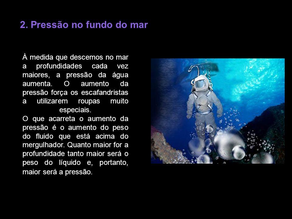 2. Pressão no fundo do mar À medida que descemos no mar a profundidades cada vez maiores, a pressão da água aumenta. O aumento da pressão força os esc