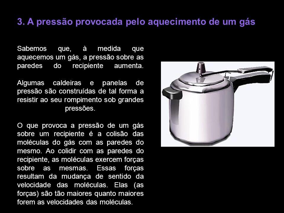 3. A pressão provocada pelo aquecimento de um gás Sabemos que, à medida que aquecemos um gás, a pressão sobre as paredes do recipiente aumenta. Alguma