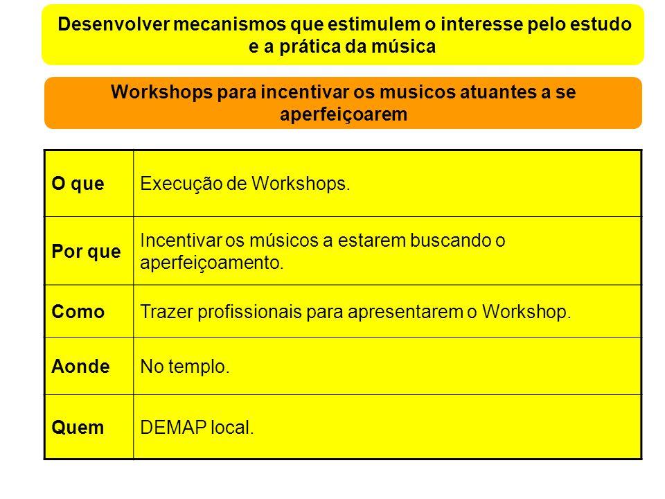 Desenvolver mecanismos que estimulem o interesse pelo estudo e a prática da música Workshops para incentivar os musicos atuantes a se aperfeiçoarem O queExecução de Workshops.