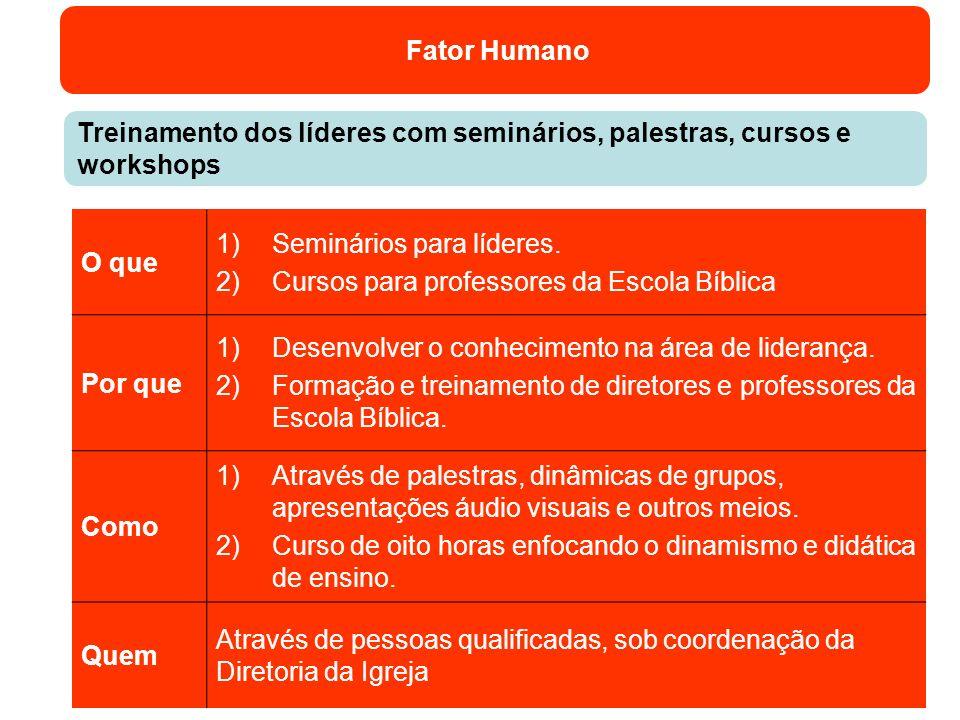 Fator Humano Treinamento dos líderes com seminários, palestras, cursos e workshops O que 1)Seminários para líderes. 2)Cursos para professores da Escol