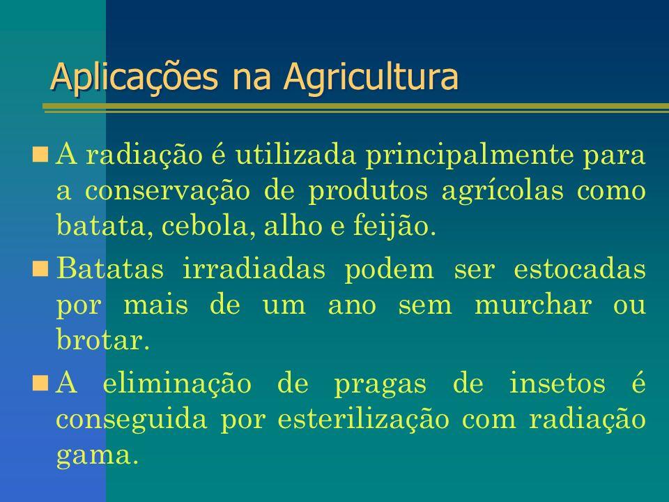 Aplicações na Agricultura A radiação é utilizada principalmente para a conservação de produtos agrícolas como batata, cebola, alho e feijão. Batatas i