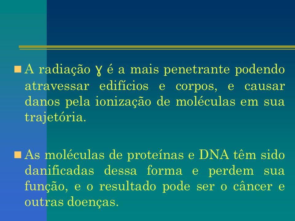 A radiação ɣ é a mais penetrante podendo atravessar edifícios e corpos, e causar danos pela ionização de moléculas em sua trajetória. As moléculas de