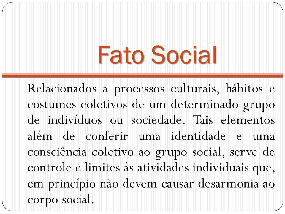 Fato Social Relacionados a processos culturais, hábitos e costumes coletivos de um determinado grupo de indivíduos ou sociedade. Tais elementos além d