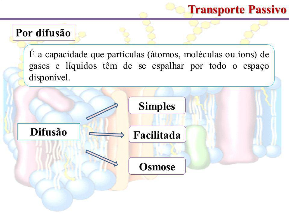 Transporte Passivo Por difusão É a capacidade que partículas (átomos, moléculas ou íons) de gases e líquidos têm de se espalhar por todo o espaço disponível.