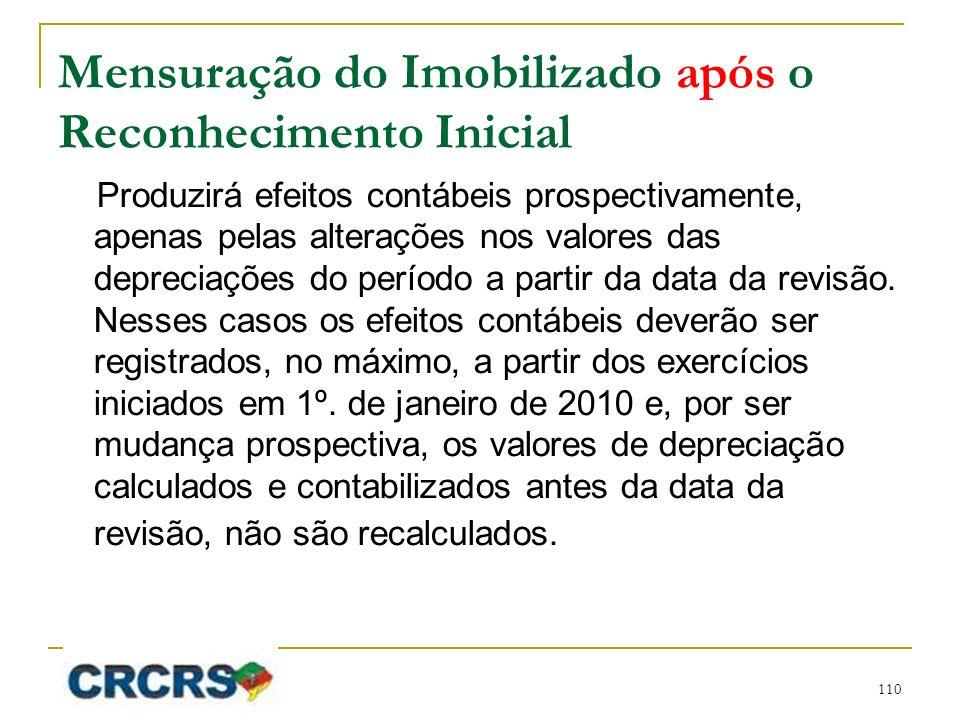 Mensuração do Imobilizado após o Reconhecimento Inicial Produzirá efeitos contábeis prospectivamente, apenas pelas alterações nos valores das depreciações do período a partir da data da revisão.