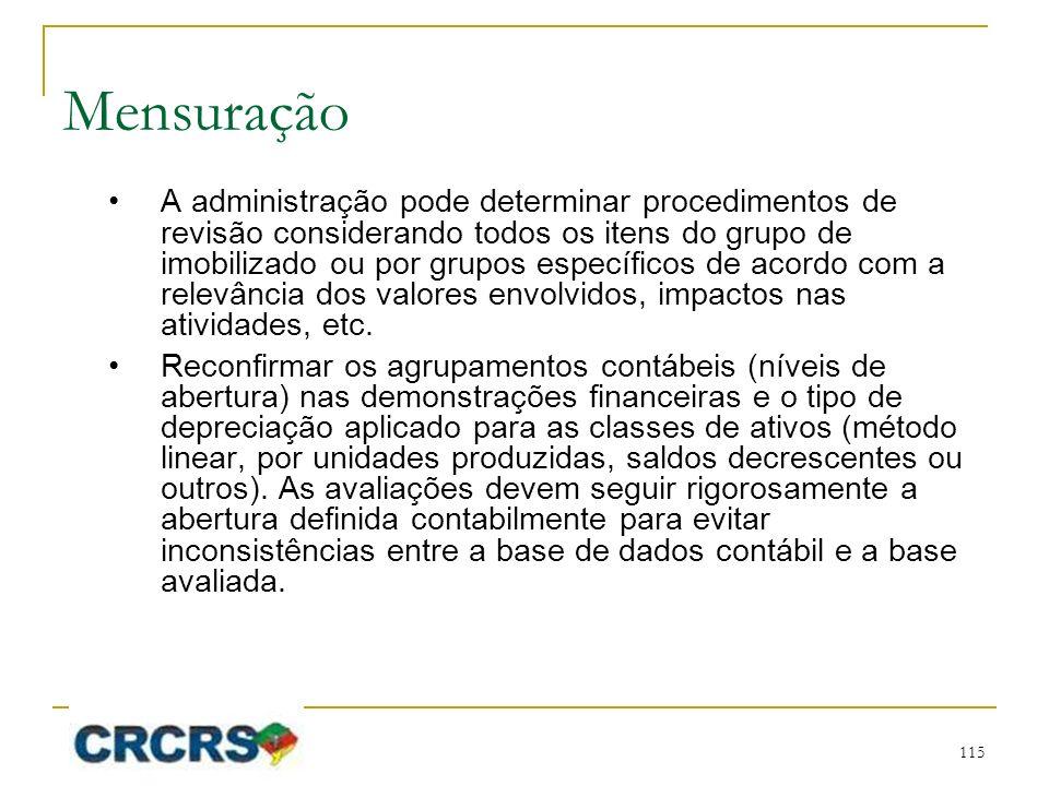 Mensuração A administração pode determinar procedimentos de revisão considerando todos os itens do grupo de imobilizado ou por grupos específicos de a