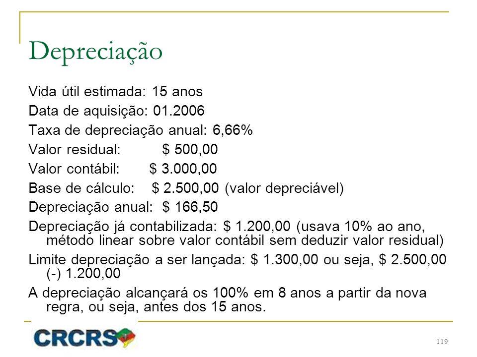 Depreciação Vida útil estimada: 15 anos Data de aquisição: 01.2006 Taxa de depreciação anual: 6,66% Valor residual: $ 500,00 Valor contábil: $ 3.000,00 Base de cálculo: $ 2.500,00 (valor depreciável) Depreciação anual: $ 166,50 Depreciação já contabilizada: $ 1.200,00 (usava 10% ao ano, método linear sobre valor contábil sem deduzir valor residual) Limite depreciação a ser lançada: $ 1.300,00 ou seja, $ 2.500,00 (-) 1.200,00 A depreciação alcançará os 100% em 8 anos a partir da nova regra, ou seja, antes dos 15 anos.