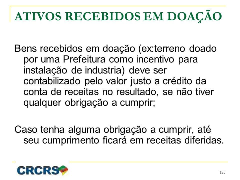 ATIVOS RECEBIDOS EM DOAÇÃO Bens recebidos em doação (ex:terreno doado por uma Prefeitura como incentivo para instalação de industria) deve ser contabi
