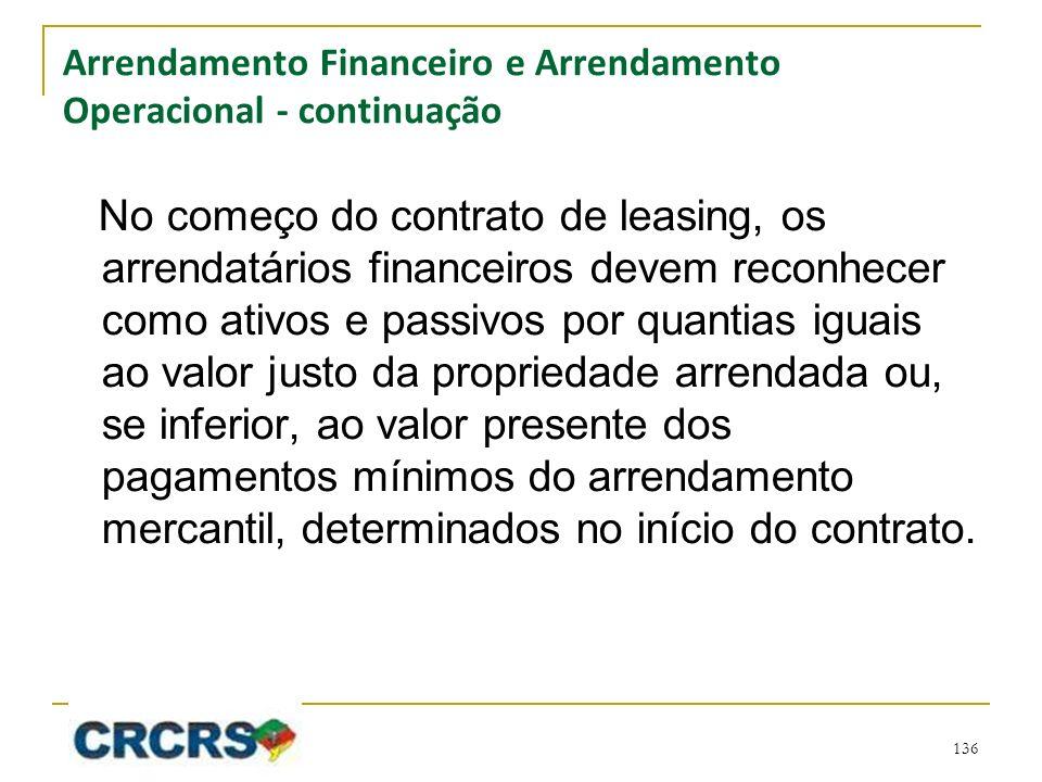 Arrendamento Financeiro e Arrendamento Operacional - continuação No começo do contrato de leasing, os arrendatários financeiros devem reconhecer como