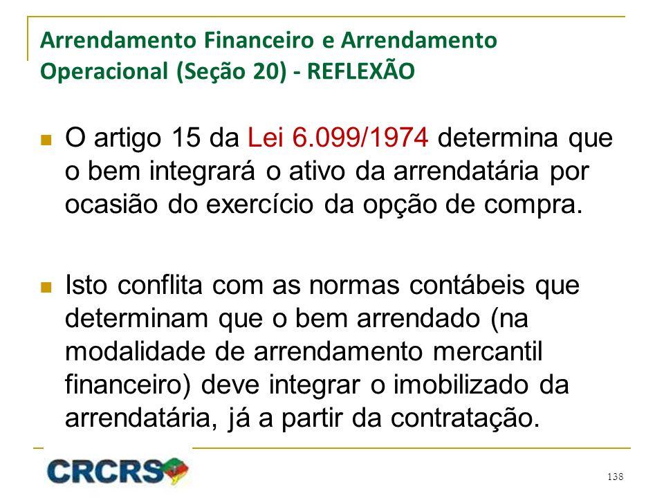 Arrendamento Financeiro e Arrendamento Operacional (Seção 20) - REFLEXÃO O artigo 15 da Lei 6.099/1974 determina que o bem integrará o ativo da arrendatária por ocasião do exercício da opção de compra.